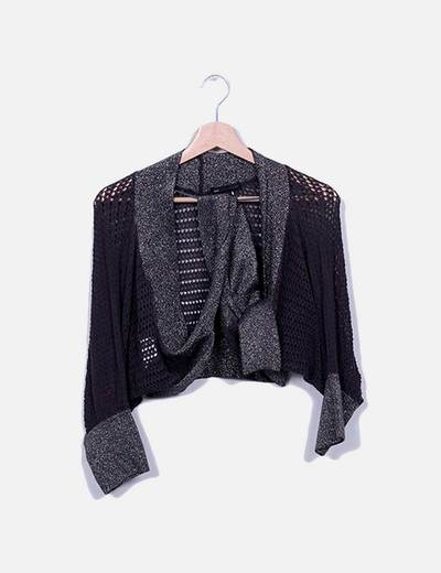Cardigan mini gris con brillos