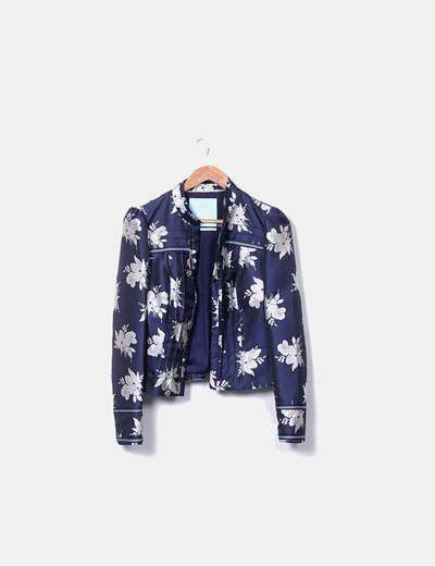 Casaco de cetim azul marinho floral BODEN