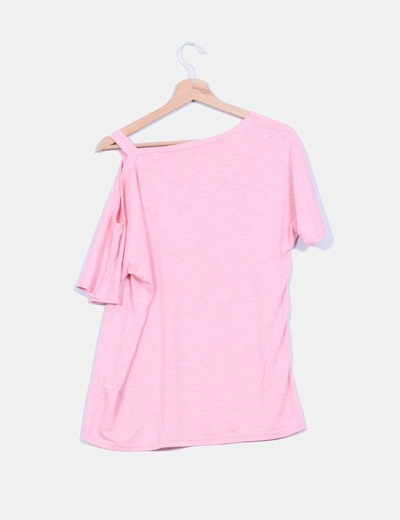 Maxi camiseta manga corta detalle tirante caido
