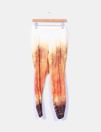 Pantalón fluido satinado estampado Zara