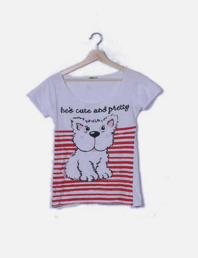 Camiseta blanco print perro