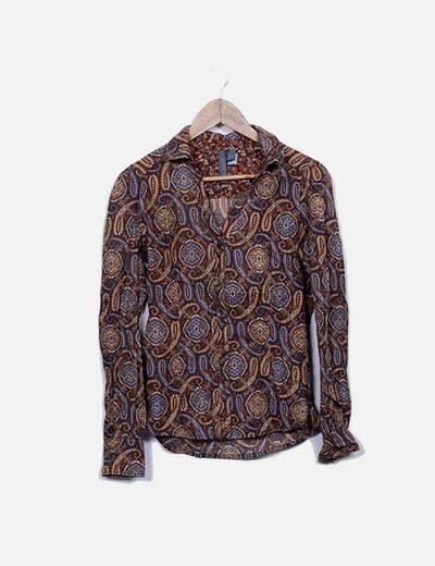 Camisa marrón estampado paisley Mango