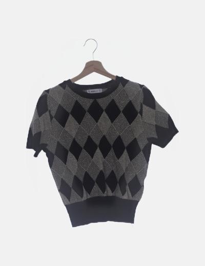 Conjunto camiseta y chaqueta tricot rombo
