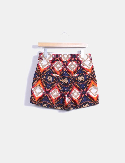 Short de tiro alto con estampado multicolor
