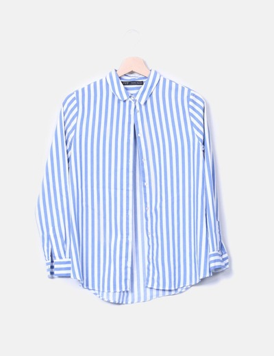 cd29964e66af8 Zara Camisa de rayas azul y blanco (descuento 83%) - Micolet