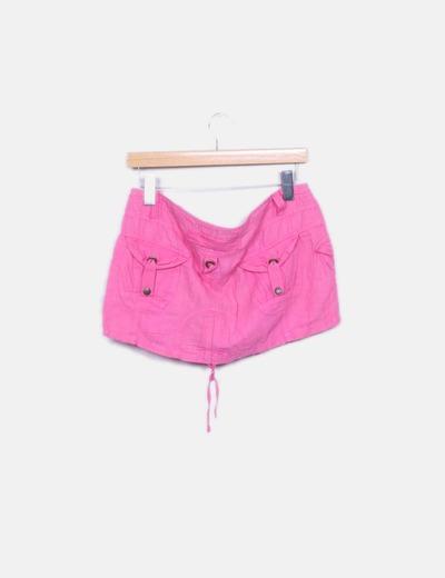 Mini falda lino rosa