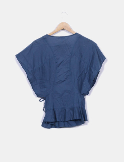 Blusa azul petroleo cruzada