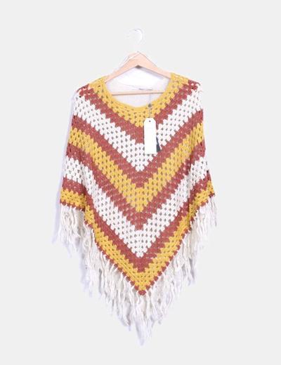 Poncho à franges en tricot ONLY