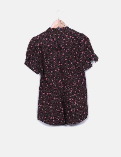 Camisa marron floral abotonada