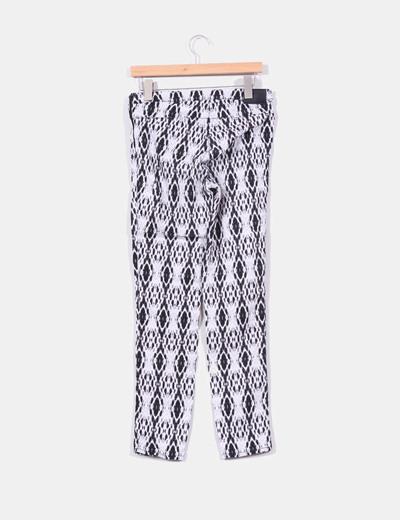 Pantalon blanco estampado con cremallera lateral