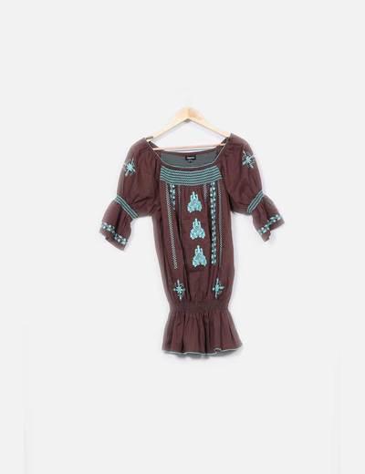 Camisola marrón bordada  Suiteblanco