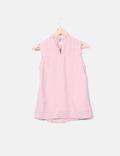 Blusa crochet rosa