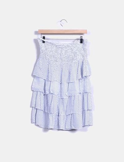 Falda midi con volantes blanca con topos azules