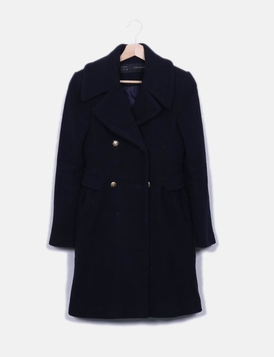 Zara Manteau bleu marine long (réduction 72%) - Micolet 7e7d9e311be3