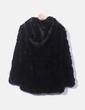 Chaquetón pelo negro con capucha Zara