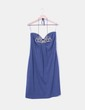 Vestido azul con pedrería palabra de honor Zara