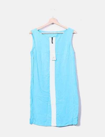 Robe bleue à bretelles transparente Mango