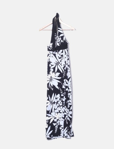 Vestido halter blanco y negro