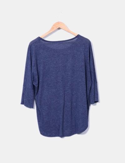 Camiseta azul jaspeada manga francesa