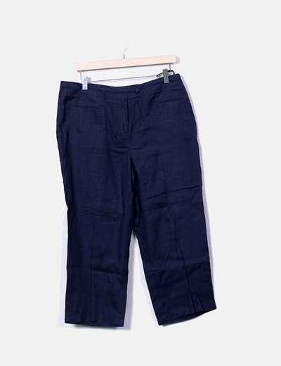 Pantalon bleu marine en lin NoName