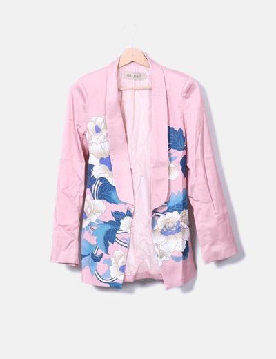 Blazer satén rosa floral con cinturón Osley