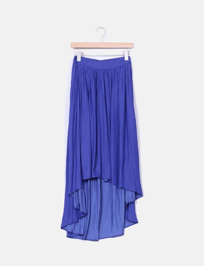 Falda midi azul klein corte asimétrico  Zara
