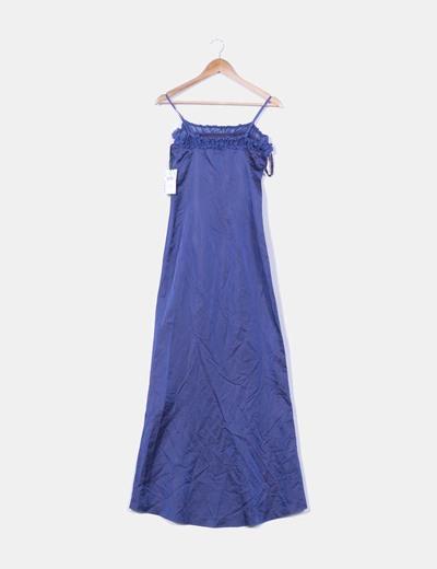 Vestido maxi raso azul marino escote drapeado