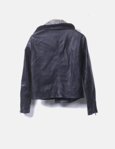 0745445115bec Etam Cazadora biker negro polipiel (descuento 65%) - Micolet