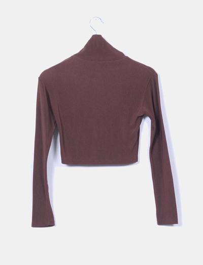 Jersey corto marron texturizado de manga larga