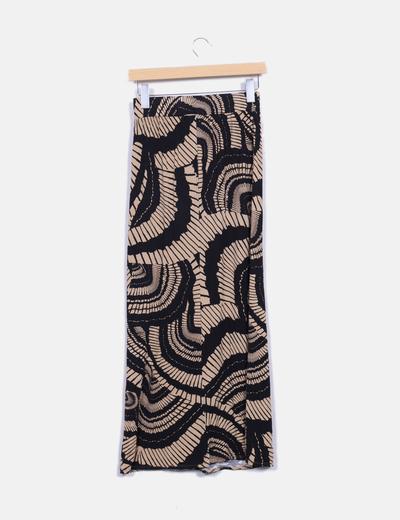 Maxi falda camel y negra estampada