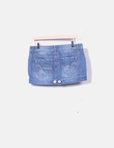 06e22d37af Bershka Mini falda denim efecto desgastado (descuento 80%) - Micolet