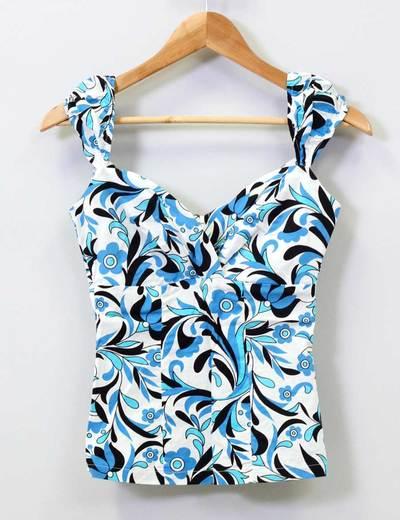 Top flores azules escote corazón Suiteblanco
