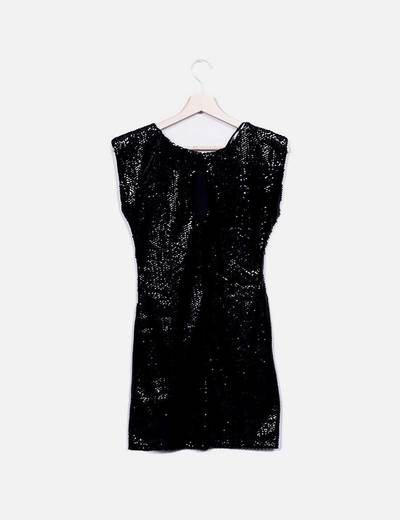 Vestido cocktail paillettes negro