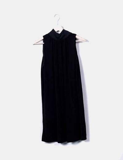 Robe noire avec ruban tricot Mango