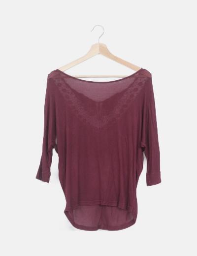 Jersey granate punto fino espalda crochet