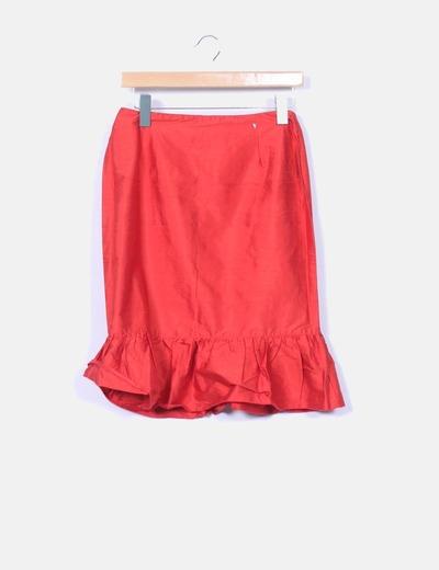 Falda midi naranja satinada