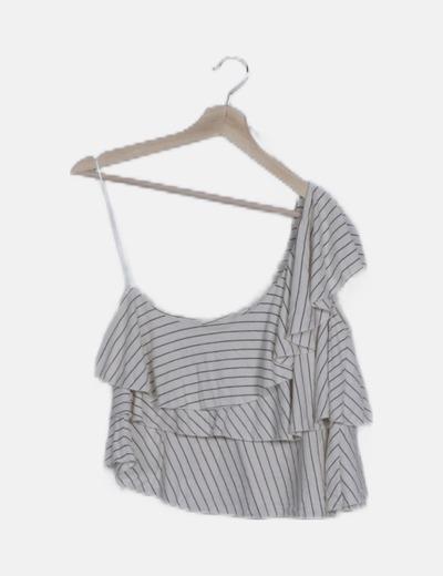 Blusa blanca asimétrica de rayas navy