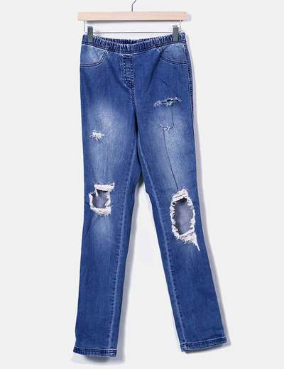 Legging denim azul con rotos Calzedonia
