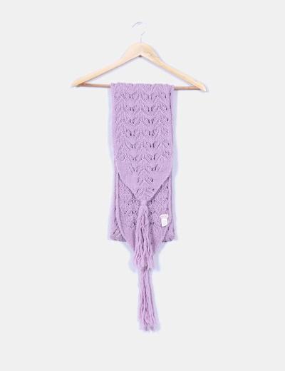 Bufanda de punto grueso con borlas color lila Echo