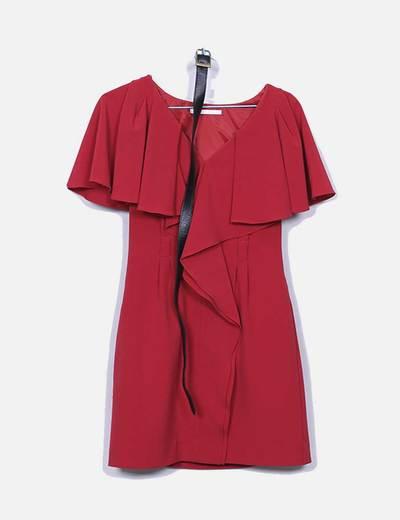 Vestido rojo volantes cinturon negro Black halo