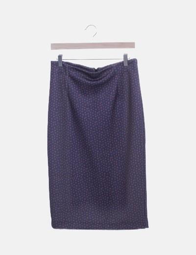 Falda tubo azul marino moteado