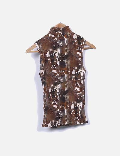 Camiseta canale marron estampada