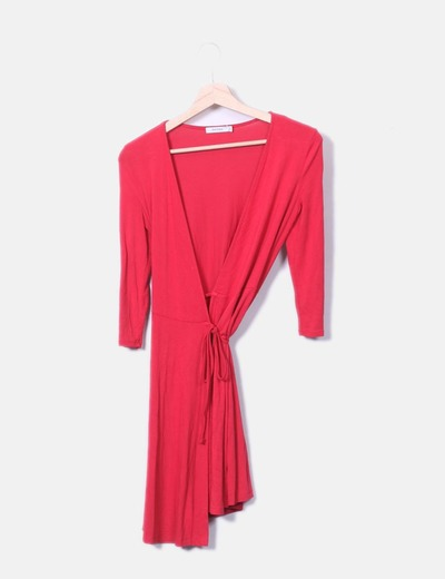 Red dress crossed Bershka