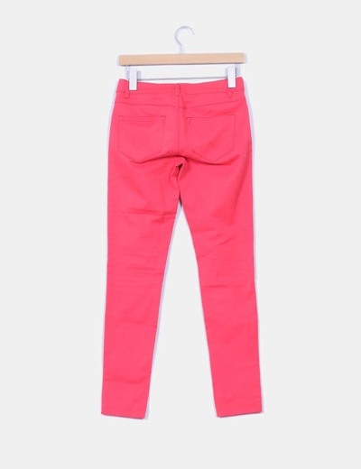 Pantalon denim slim fit coral