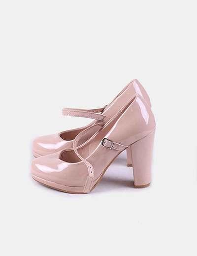 Zapato tacón charol rosa