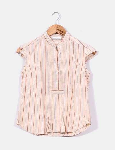 Blusa beige rayas verticales  Auka
