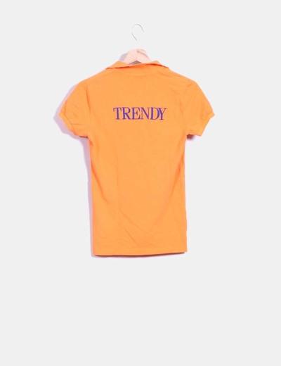 Polo skinny naranja fluor trendy bordado