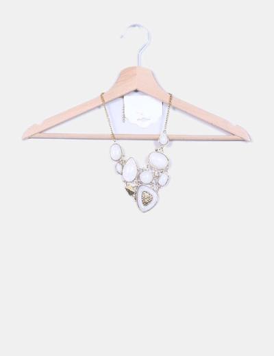 Colgante en V con formas circulares blanco y dorado Fashion Jewerly