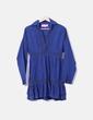 Vestido camisero azul marino con bordado Thannac