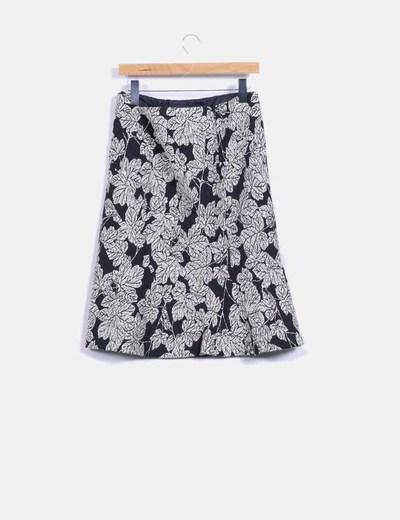 Falda texturizada con estampado floral bicolor